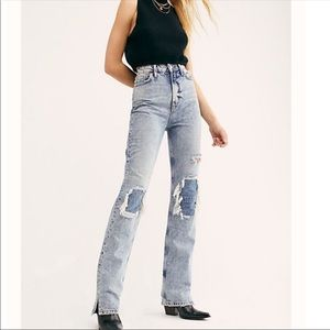 Free People My Own Lane distressed bootcut jeans